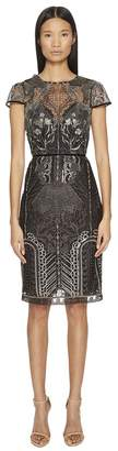 Marchesa Embroidered Cocktail w/ Cap Sleeves Women's Dress