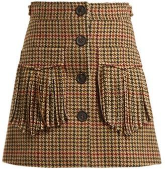 Miu Miu Fringed Houndstooth Wool Mini Skirt - Womens - Green Multi