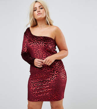 Naanaa Plus One Shoulder Bodycon Dress In Velvet Leopard