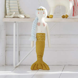 Little Baby Company Knitted Mermaid Sparkly Character Cushion Doll