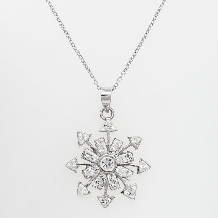 Swarovski Sterling silver crystal openwork snowflake pendant - made with elements