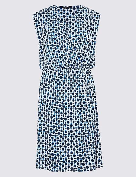 Spot Print Wrap Beach Dress