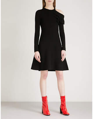 Mo&Co. Ruffled cold-shoulder knitted dress