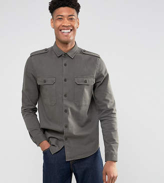 Asos Design TALL Military Overshirt In Khaki