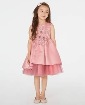 Rare Editions Little Girls Floral-Applique High-Low Dress