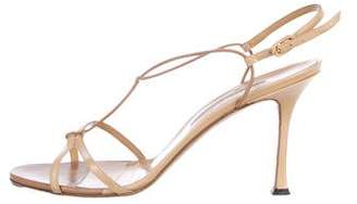 Manolo Blahnik Leather Slingback Sandals