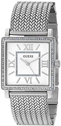 GUESS Women's U0826L1 Dressy Silver-Tone Watch with White Dial