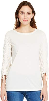 Izod Women's Ruched-Sleeve Top