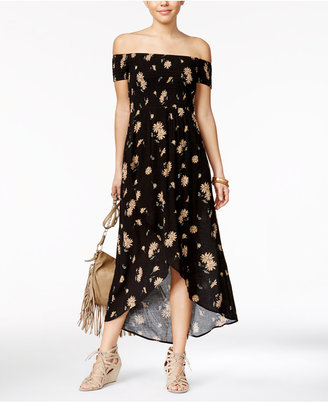 American Rag Printed Off-The-Shoulder Tulip-Front Maxi Dress, Only at Macy's $69.50 thestylecure.com