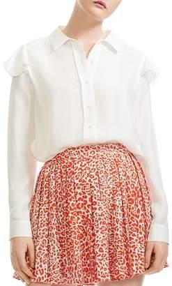 Maje Chella Button-Down Silk Shirt