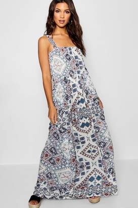 boohoo Bohemian Print Floor Sweeping Maxi Dress