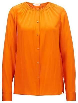 HUGO BOSS Crepe-de-chine blouse with smocked neckline