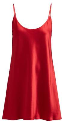 La Perla - Silk Satin Slip Dress - Womens - Red