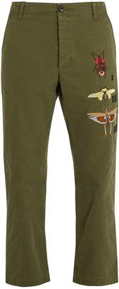 Gucci Insect-embroidered cropped cotton chino trousers