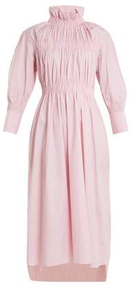 Teija - High Neck Long Sleeved Cotton Dress - Womens - Pink White