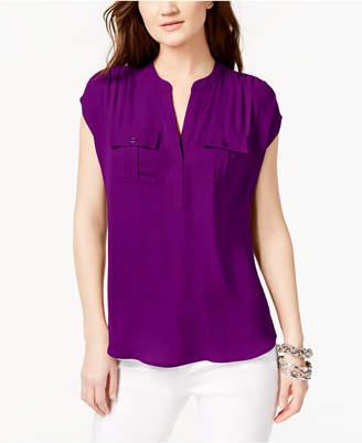 INC International Concepts Mixed-Media Utility Shirt