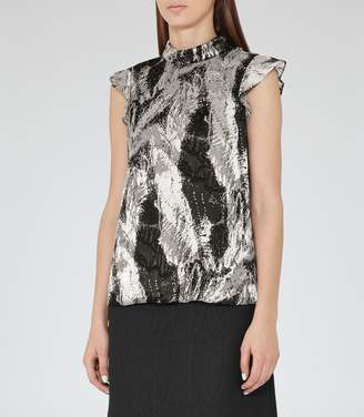Reiss Andi Textured Printed Top