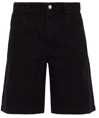 Raf Simons Classic Fit Chrome Patch Denim Shorts - Mens - Black