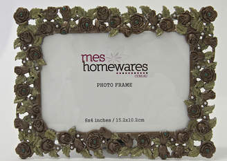 Ms Homewares 4x6 Metal Roses Photo Frame