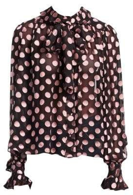 Zimmermann Unbridled Polka-Dot Tie Neck Blouse