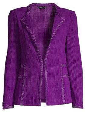 Misook Women's Tweed Jacket - Royal - Size Small