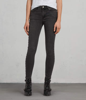 AllSaints Grace Studded Ankle Skinny Jeans