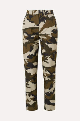House of Holland Camouflage-print Cotton-canvas Straight-leg Pants - Army green
