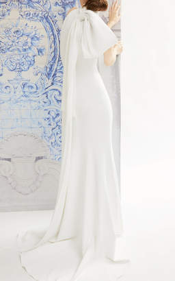 Carolina Herrera Bridal Iris Crepe Halter Gown with Trumpet Skirt and Bow Detail