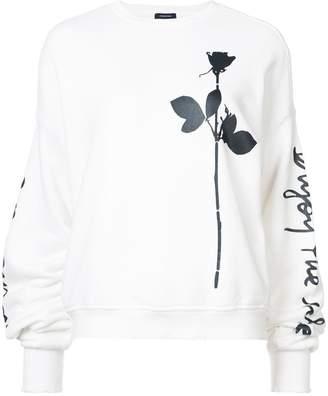R 13 Enjoy The Silence script pleated sleeve sweatshirt