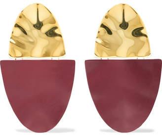 Monica Sordo Nausheen Shah x Shah Coated Gold-plated Earrings - Burgundy