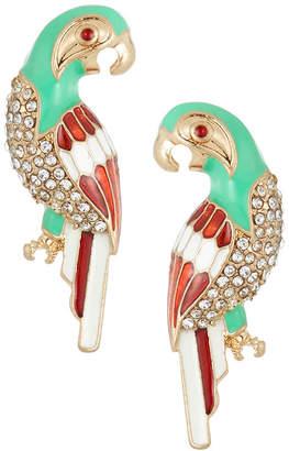 Kenneth Jay Lane Parrot Crystal & Enamel Stud Earrings