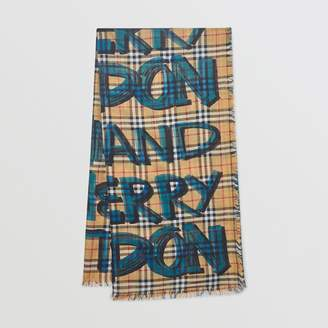 Burberry Graffiti Print Check Wool Silk Large Square Scarf