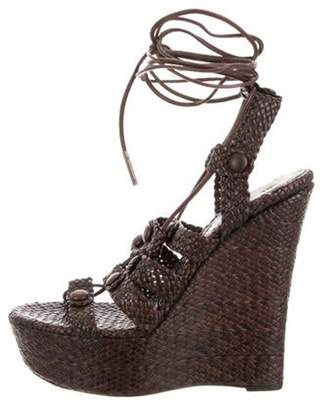 Burberry Leather Woven Wedges Brown Leather Woven Wedges