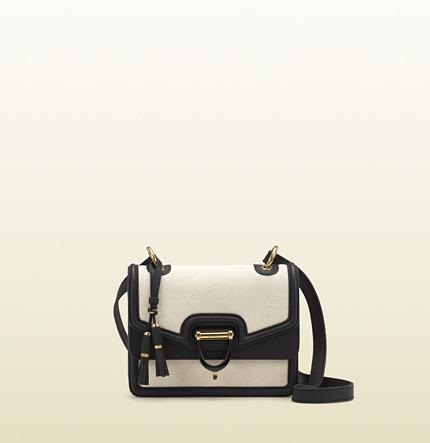 Gucci Derby Canvas Shoulder Bag With Black Leather Trim