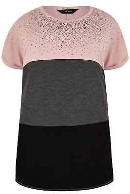 Yours Clothing Women's Plus Size Pink, Black & Grey Colour Block Top With Gem Embellishment