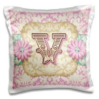 3dRose Regal Pastel Mod Damask Monogram Initial V, Pillow Case, 16 by 16-inch