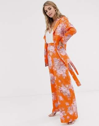 Asos Design DESIGN floral wide leg suit pants