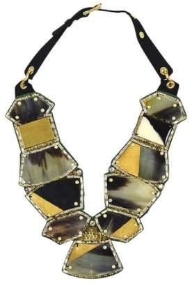 Oscar de la Renta Gold Tone Green Foiled Horn Crystal Bib Statement Necklace