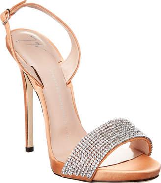 Giuseppe Zanotti Coline Embellished Satin Slingback Sandal