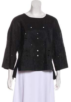 Tibi Three-Quarter Sleeve Embroidered Blouse