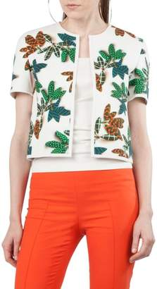 Akris Punto Tropical Print Cap Sleeve Jacket