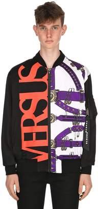 Versus Belts & Logo Printed Nylon Bomber Jacket