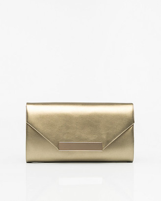 Le Château Metallic Faux Leather Flapover Clutch