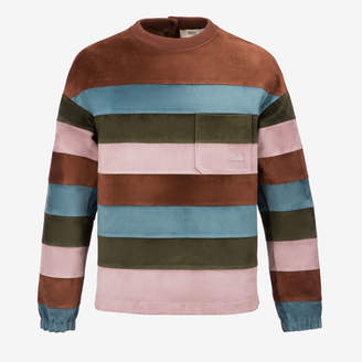 Bally Color block Striped Suede Sweater