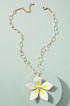 Anthropologie Plumeria Pendant Necklace