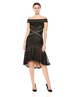 Tadashi Shoji Women's Off Shoulder lace Dress with Ruffle Hem, Black/Nude, L