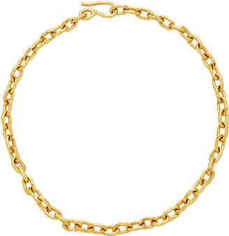Jean Mahie 22K Yellow Gold Hammered Link Cadene Chain