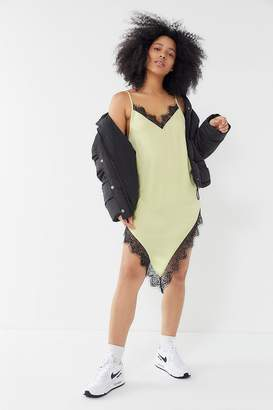 Out From Under Angie Lace Trim Asymmetrical Slip Dress