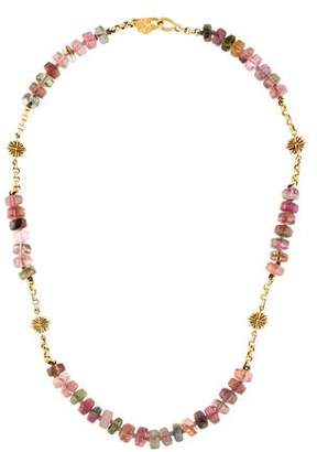 18K Multicolor Tourmaline Bead Necklace