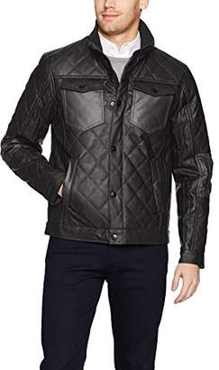 Perry Ellis Men's Stretch Faux Leather Jacket